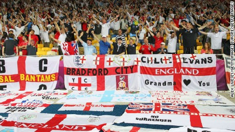 KIEV, UKRAINE - JUNE 15:  England fans soak up the atmopshere ahead of the UEFA EURO 2012 group D match between Sweden and England at The Olympic Stadium on June 15, 2012 in Kiev, Ukraine.  (Photo by Alex Livesey/Getty Images)