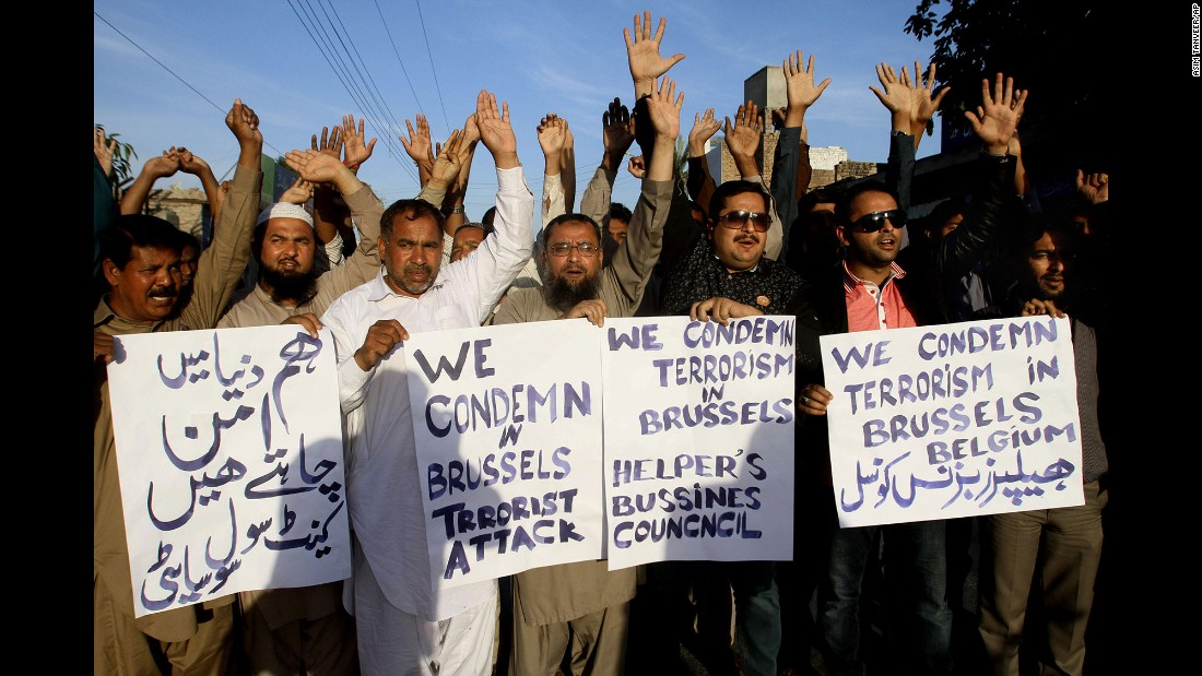 Activists in Multan, Pakistan, condemn the Brussels attack on March 22.