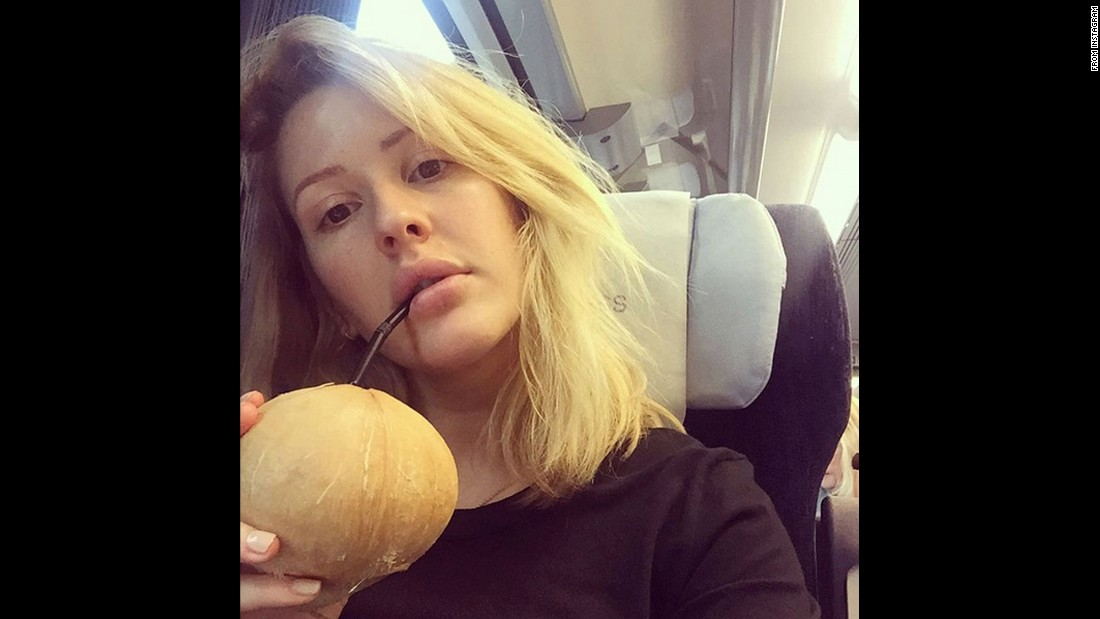 """Coconut train flow,"" <a href=""https://www.instagram.com/p/BDIoaP0zfYi/?hl=en"" target=""_blank"">said singer Ellie Goulding</a> as she takes a drink on Saturday, March 19."