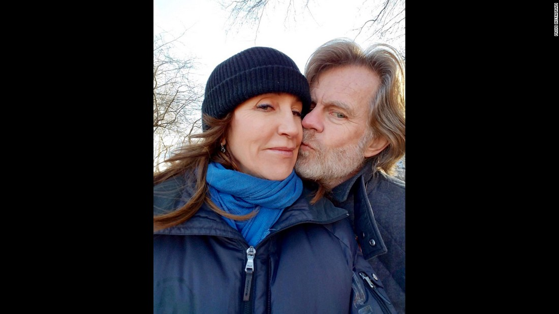 "Actor William H. Macy kisses his wife, actress Felicity Huffman, on Sunday, March 20. ""A sweet kiss, from a sweet man,"" <a href=""https://www.instagram.com/p/BDLy5F0rmnS/?hl=en"" target=""_blank"">Huffman said on Instagram.</a>"