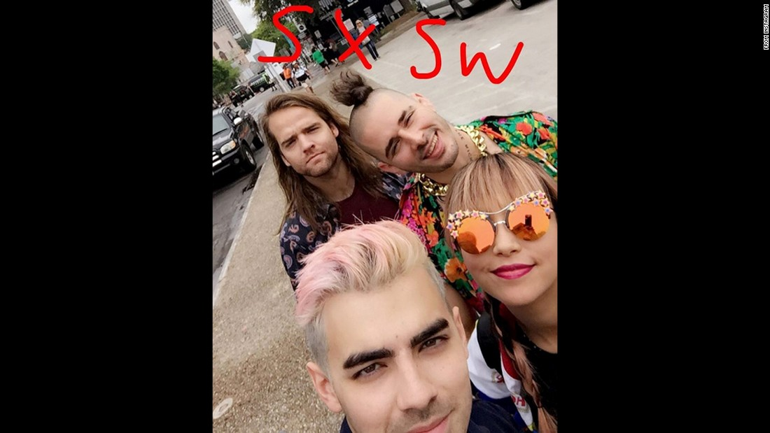 "Joe Jonas, front, and his band DNCE <a href=""https://www.instagram.com/p/BDECR1aEB5K/"" target=""_blank"">take a selfie</a> Thursday, March 17, during the South by Southwest festival in Austin, Texas."