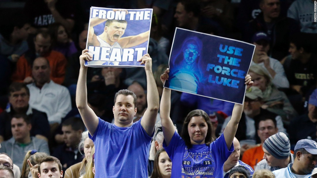 Duke fans show their support during the second-round game against Yale on Saturday, March 19.
