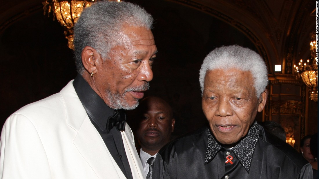 "Morgan Freeman, who played Nelson Mandela in the 2009 film ""Invictus,"" is pictured with the South African president at a gala dinner in Monaco two years earlier."
