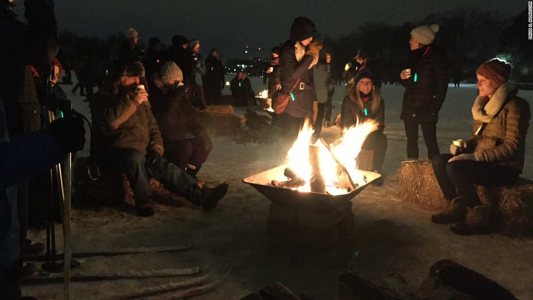 One of the most delightful parts of the annual festival is the Luminary Loppet, which takes place one night of the festival weekend on the neighboring frozen Lake of the Isles.
