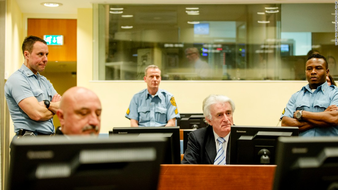 "Radovan Karadzic, second from right, sits in a courtroom in The Hague, Netherlands, before <a href=""http://www.cnn.com/2016/03/24/europe/karadzic-war-crimes-verdict/"" target=""_blank"">he was sentenced to 40 years in prison</a> on Thursday, March 24. Karadzic, nicknamed the ""Butcher of Bosnia,"" was found guilty of genocide for the 1995 Srebrenica massacre. More than 7,000 Bosnian Muslims were executed by Bosnian Serb forces under Karadzic's command."