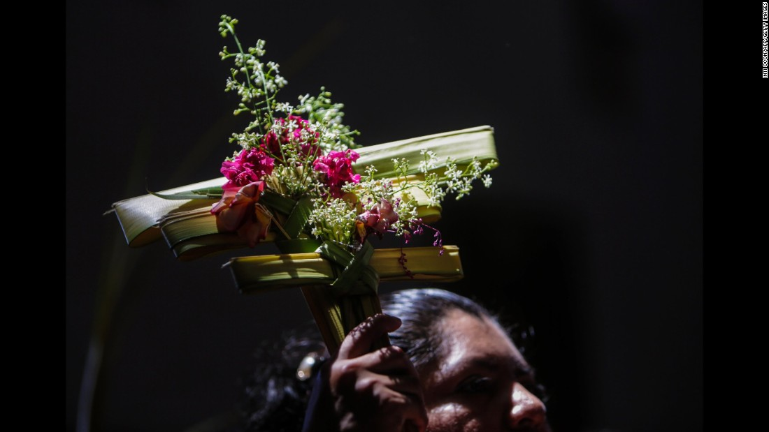 A Catholic attends a Palm Sunday Mass in Managua, Nicaragua, on March 20.