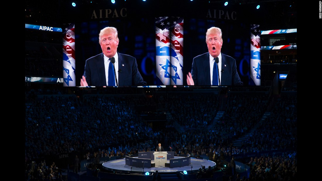 "Republican presidential candidate Donald Trump <a href=""http://www.cnn.com/2016/03/21/politics/hillary-clinton-aipac-speech-donald-trump/"" target=""_blank"">addresses the American Israel Public Affairs Committee,</a> one of the country's largest pro-Israel lobbying groups, during an afternoon session in Washington on Monday, March 21. In his speech, Trump proclaimed that, ""the days of treating Israel like a second-class citizen will end on day one"" of his presidency."
