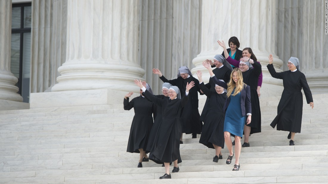 "Catholic nuns from the Little Sisters of the Poor walk down the steps of the U.S. Supreme Court on Wednesday, March 23. The group <a href=""http://www.cnn.com/2016/03/23/politics/supreme-court-obamacare-contraceptive-mandate/"" target=""_blank"">is challenging</a> the government's new health-care regulations. Lawyers for the nuns and other religious nonprofits told the court that the so-called contraceptive mandate forces these groups to either violate their religious beliefs or pay ruinous fines."