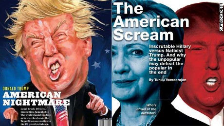 Two of India's top English-language weeklies ran cover stories on the U.S. election battle.