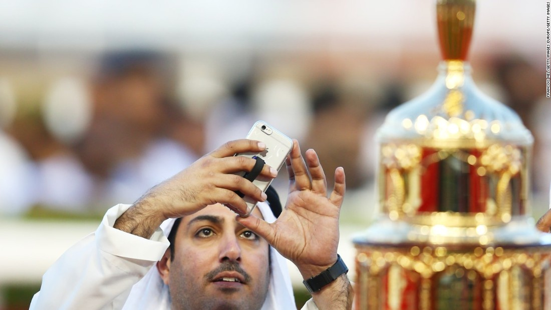 The Dubai World Cup golden trophy attracted a lot of attention among spectators at Meydan.