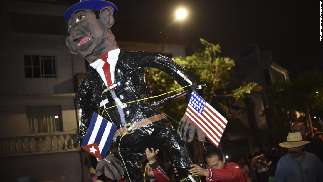 An effigy of U.S. President Barack Obama is burned during Holy Week celebrations in Mexico City.