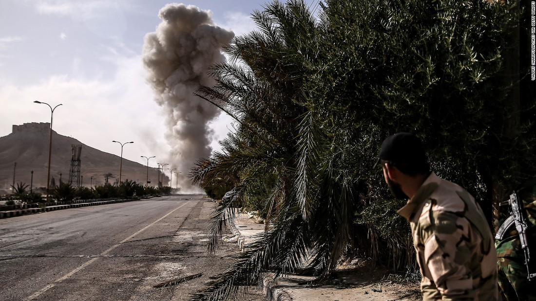 "Syrian military engineers detonate mines laid by ISIS militants during an operation  to liberate the city of Palmyra, Syria, on Sunday, March 27. Syrian forces <a href=""http://www.cnn.com/2016/03/27/middleeast/syria-forces-capture-palmyra-city/index.html"" target=""_blank"">recaptured Palmyra</a> from ISIS on Sunday, months after the city fell to the Islamic extremist group, state media reported."