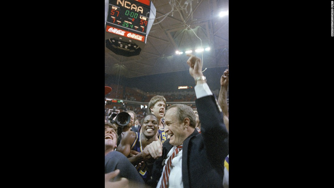 LSU, led by head coach Dale Brown, became the first 11 seed to reach the Final Four with a 59-57 win against No. 1 Kentucky. The Tigers lost in the national semifinals to the eventual champion, No. 2 Louisville.