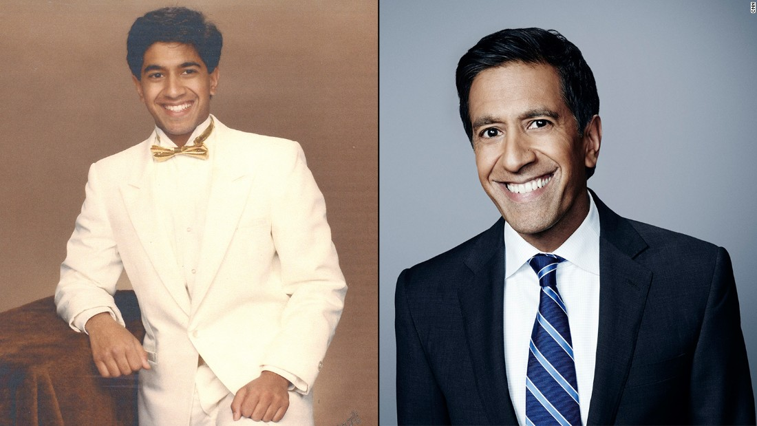 Dr. Sanjay Gupta wears a white tuxedo while attending his high school prom in Novi, Michigan, in 1986.