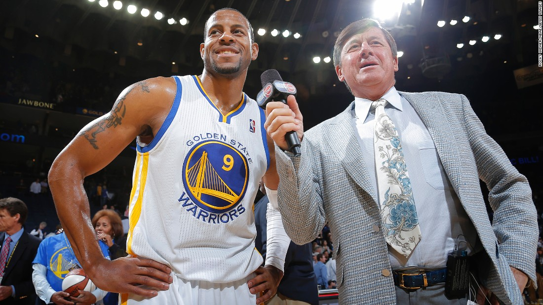 Sager speaks to Andre Iguodala of the Golden State Warriors in 2013. Sager has long had an ebullient personality: While a student at Northwestern University, he served as Willie the Wildcat, the school's mascot.