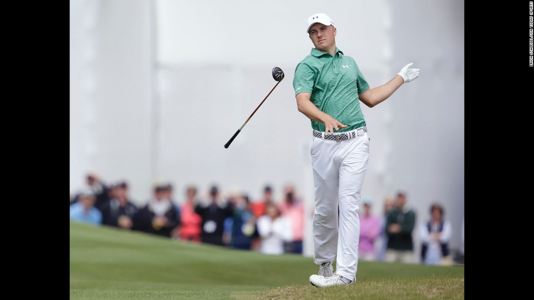 Jordan Spieth drops his club after hitting a shot at the WGC Match Play on Saturday, March 26. Spieth lost to Louis Oosthuizen in the fourth round.