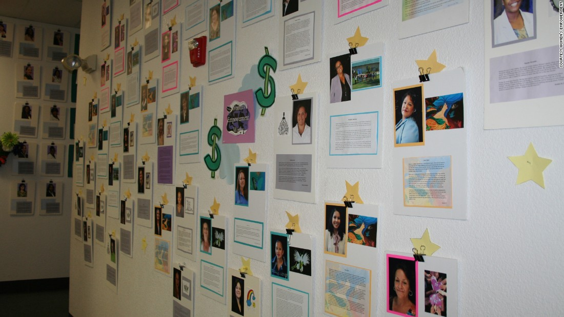 "When the women secure employment, they add their name to the ""Job Wall."""