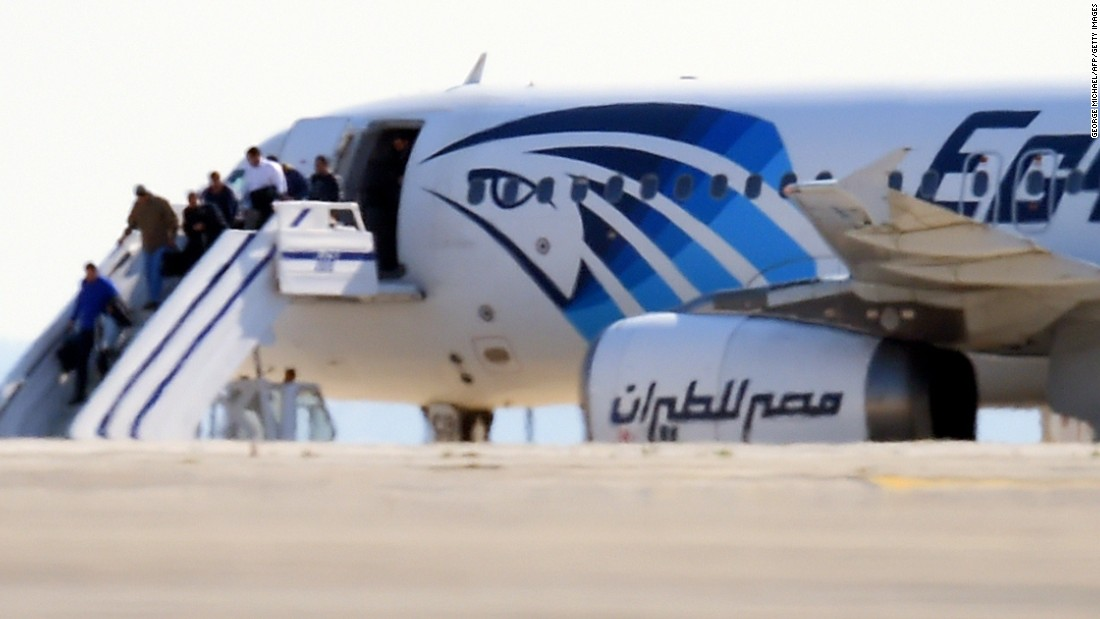 "EgyptAir Flight 181 en route to Cairo from Alexandria <a href=""http://www.cnn.com/2016/03/29/europe/hijacked-egypt-air-jet/index.html"">was hijacked and diverted to Cypress</a> in 2016. Here, some passengers disembark on the tarmac at Larnaca International Airport in Cyprus. All the passengers eventually were released and the hijacker arrested, according to the airline and Cypriot authorities."