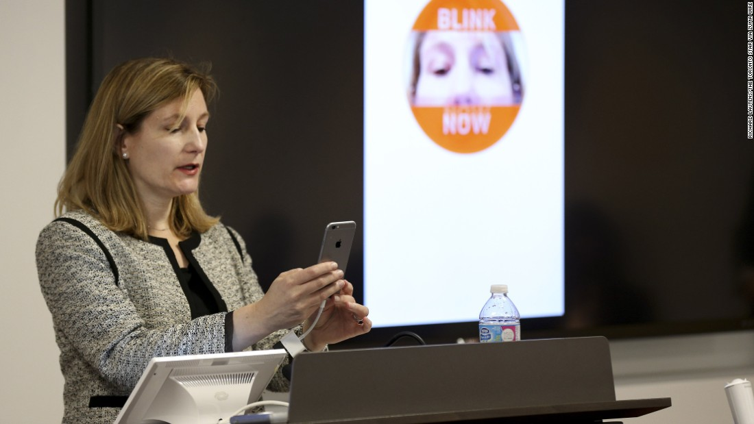 "Catherine Murchie, senior vice president of U.S. enterprise solutions for MasterCard, demonstrates the company's ""selfie pay"" technology on Wednesday, March 23. The company announced <a href=""http://money.cnn.com/2016/02/22/technology/mastercard-selfie-pay-fingerprint-payments/"" target=""_blank"">it is launching new mobile technologies</a> that will allow customers to authenticate their online purchases using selfies or fingerprints."