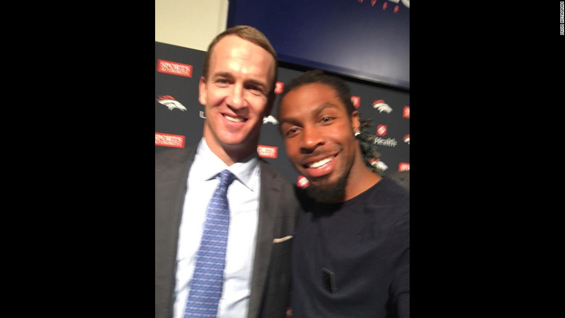 "Denver Broncos safety David Bruton Jr., right, takes a photo with former teammate Peyton Manning after Manning announced his retirement on Monday, March 7. ""Congrats Peyton on everything you have accomplished,"" <a href=""https://www.instagram.com/p/BCqaeODPKSc/"" target=""_blank"">Bruton said on Instagram. </a>""You have revolutionized the game and it was an honor to play along side of you and be a captain with you!!"" <a href=""http://www.cnn.com/2016/02/08/us/gallery/peyton-manning/index.html"" target=""_blank"">See photos from Manning's historic career</a>"