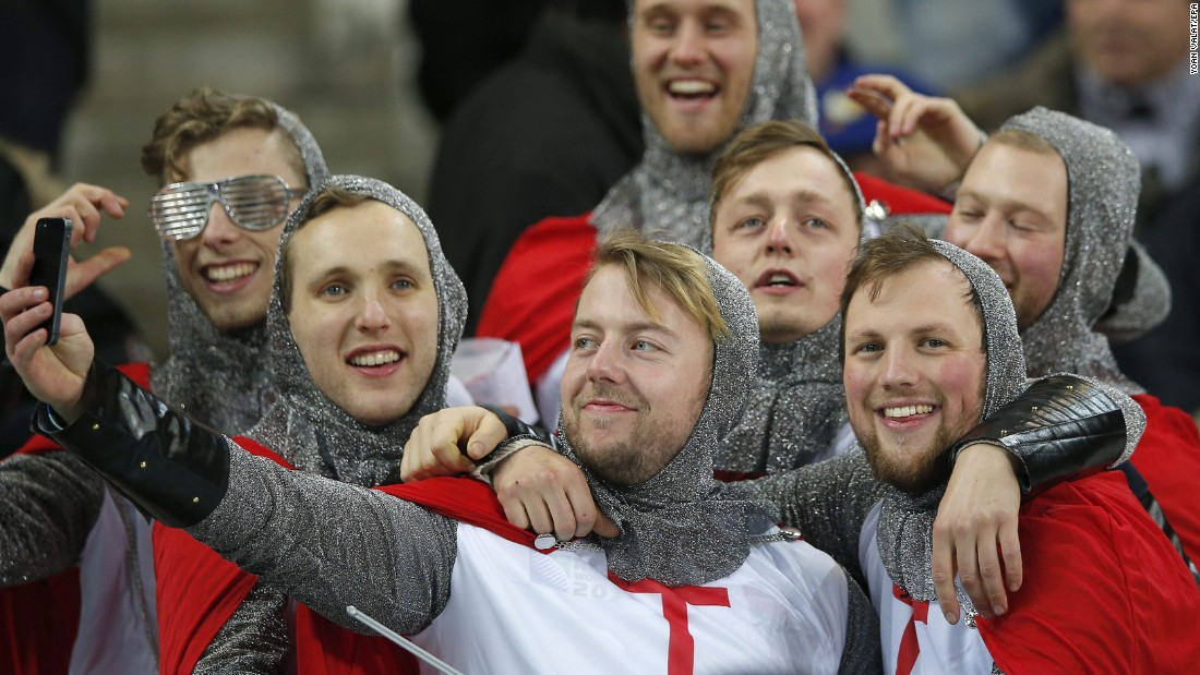 Supporters of the English rugby team take a selfie before a Six Nations match in Paris on Saturday, March 19.