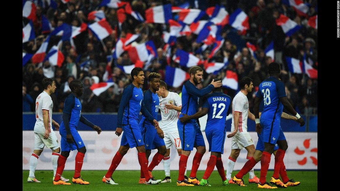 French players celebrate the fourth goal of their 4-2 victory.