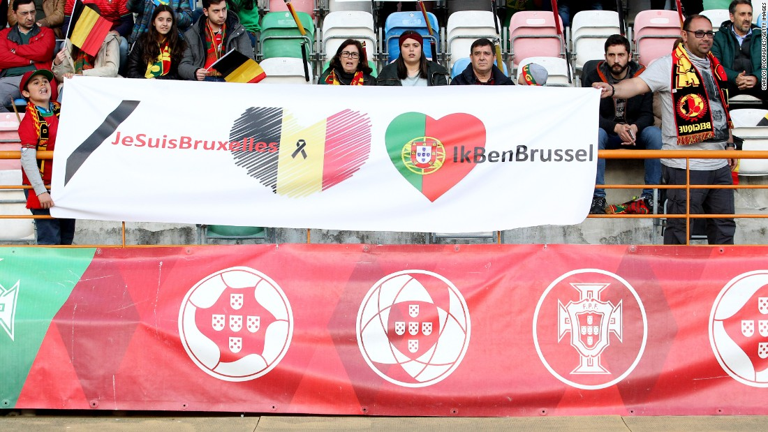 A message pays tribute to those affected by the Belgian tragedy.