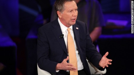 Republican Presidential candidate Ohio Gov. John Kasich  takes part in a town hall event moderated by Anderson Cooper March 29, 2016 in Milwaukee, Wisconsin.