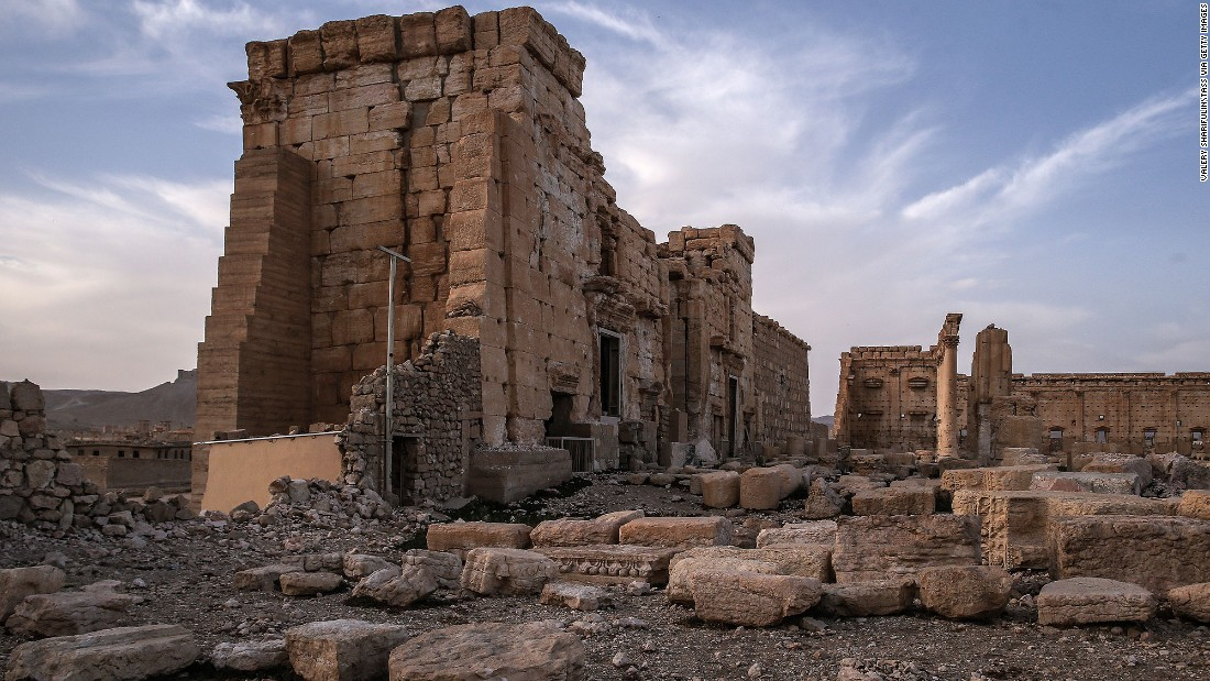 <strong>After:</strong> The Temple of Bel on March 27.