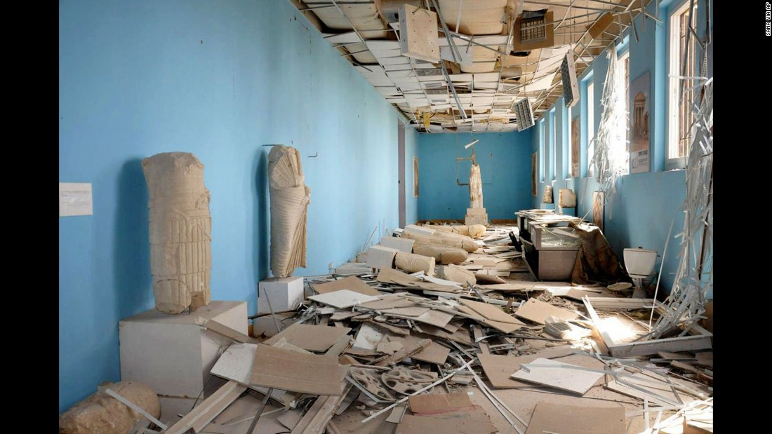 Destroyed statues inside the Palmyra Museum.