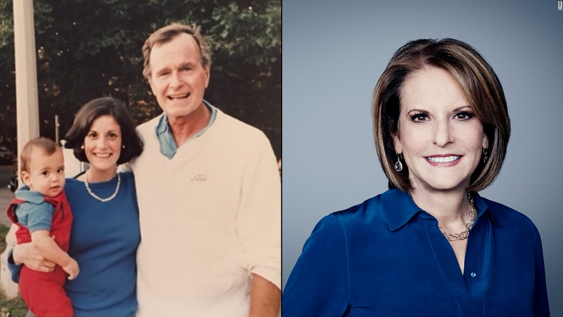 "Gloria Borger with Vice President George H. W. Bush and her eldest son, Evan Morgan in 1986. ""We were out for a walk at St. Albans and the veep, George H. W. Bush, was out on a run!"""