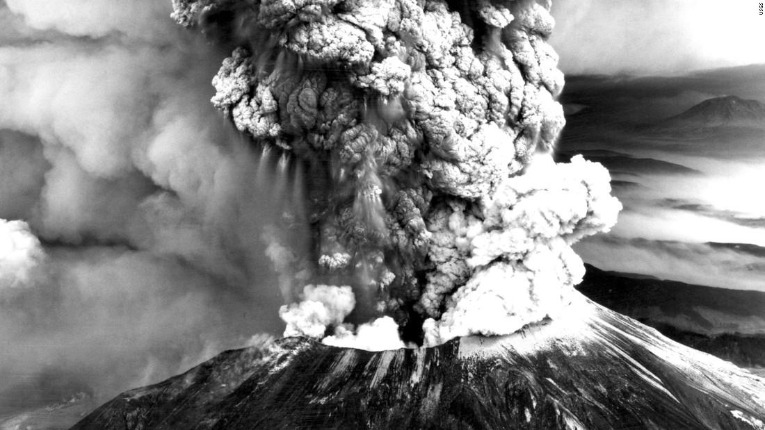 "<strong>The eruption of Mount St. Helens:</strong> Mount St. Helens erupted in Washington state in May 1980, leading to the deaths of 57 people. <a href=""http://www.theatlantic.com/photo/2015/05/the-eruption-of-mount-st-helens-35-years-ago/393557/"" target=""_blank"">Triggered by an earthquake,</a> the eruption blasted <a href=""http://www.cnn.com/2013/07/26/us/mount-st-helens-fast-facts/"" target=""_blank"">more than 1,000 feet</a> off the top of the volcano. It left a huge crater and spread tons of volcanic ash across several states."