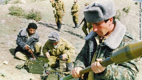 Azerbaijani soldiers prepare for a battle in Gulabird in the southern part of Nagorno Karabakh in October 1992.