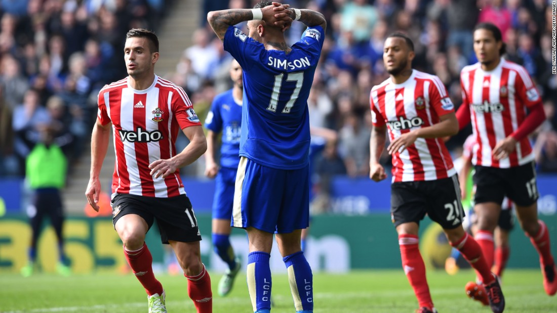 Leicester City's Danny Simpson (C) reacts after he missed a chance to increase his teams lead against Southampton.
