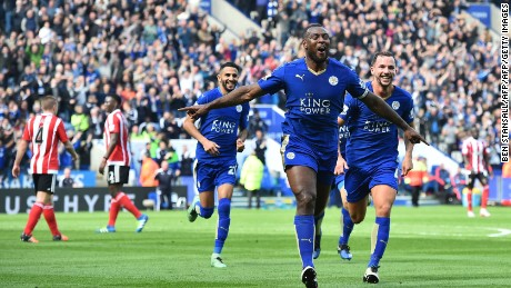 Leicester City's Wes Morgan celebrates scoring the only goal of the game against Southampton.
