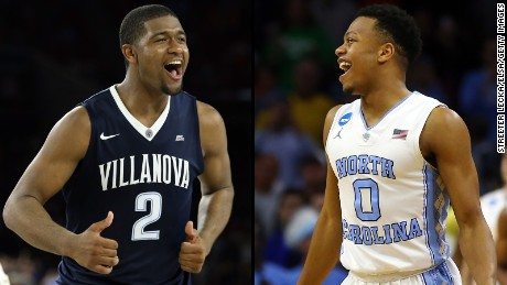 Brothers Kris Jenkins of Villanova (left) and Nate Britt of North Carolina already were competitive against each other. This time, the NCAA men's basketball championship is on the line.