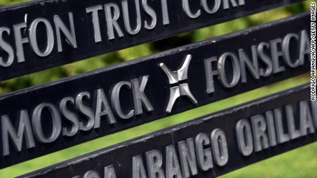 View of a sign outside the building where Panama-based Mossack Fonseca law firm offices are in Panama City