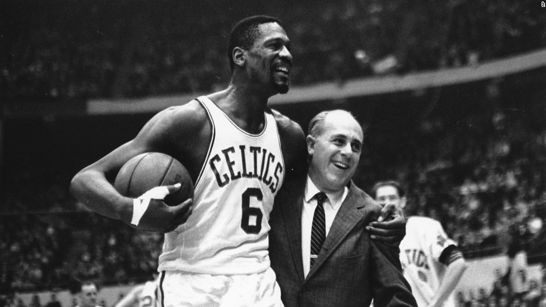 <strong>Most NBA titles (player):</strong> Bill Russell, seen here with legendary coach Red Auerbach, won 11 titles in his 13 NBA seasons. The big man won all of them with Boston, starting in 1957 and ending in 1969.