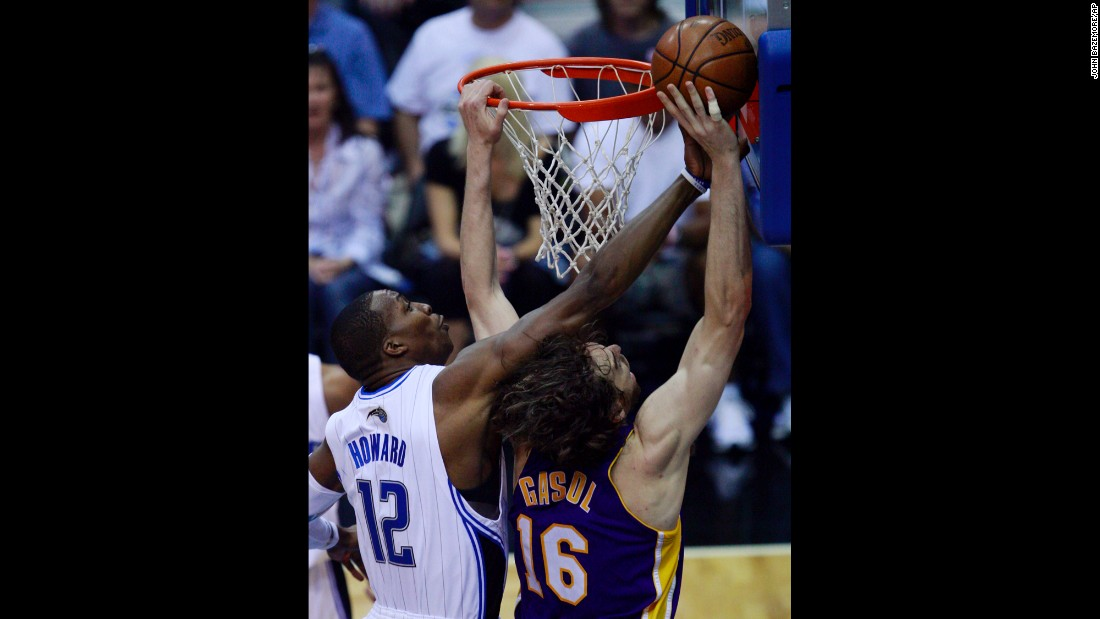 <strong>Most blocks in an NBA Finals game: </strong> Dwight Howard blocks a shot by the Lakers' Pau Gasol during the 2009 NBA Finals. It was one of nine blocks the Orlando center had in Game 4.