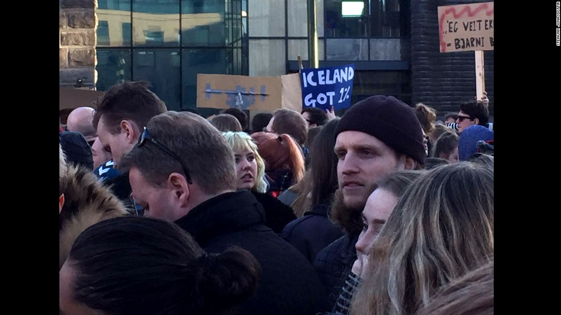 As opposition lawmakers are pushing for a vote of no confidence in the prime minister, some protesters say they want him to step down. Gunnlaugsson has vowed to stay in office.