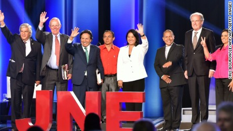 Peruvian presidential candidates (L-R), Fernando Olivera for the Independent Moralizing Front (FIM), Pedro Pablo Kuczynski for Peruanos por el Cambio (Peruvians for Change ), former Peruvian President (2001-2006) Alejandro Toledo for Peru Posible (Possible Peru), Gregorio Santos for the Social Affirmation Movement, daughter of imprisoned former Peruvian President (1990-2000) Alberto Fujimori, Keiko Fujimori, for the Fuerza Popular (Popular Force) party, Miguel Hilario for Progresando Peru (Progressing Peru), Alfredo Barrenechea for Accion Popular (Popular Action), Veronika Mendoza for of the Frente Amplio (Broad Front), former Peruvian President  (1985-1990 and 2006-2011) Alan Garcia for the Alianza Popular (Popuar Alliance), and former Peruvian Minister of Defense (2007-2009) Antero Flores Araoz, for the Popular Cristiano (Christian People's) Party, participate in a televised debate organized by the Peruvian National Electoral Jury in Lima on April 3, 2016. Peruvians will elect new president next April 10. AFP PHOTO/CRIS BOURONCLE / AFP / CRIS BOURONCLE        (Photo credit should read CRIS BOURONCLE/AFP/Getty Images)