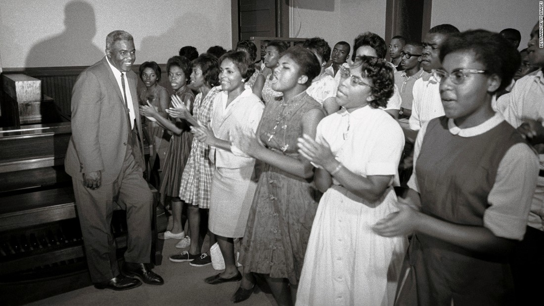 Robinson attends a meeting for Freedom Marchers in Williamston, North Carolina, in 1964. He was there to lend his name to the integration efforts in the city.