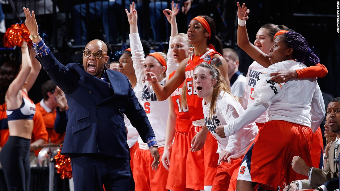 Syracuse head coach Quentin Hillsman and players react to a play.