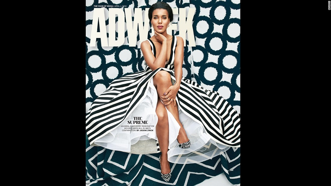 "Kerry Washington took to <a href=""https://www.instagram.com/p/BD1Yu--ABne/"" target=""_blank"">Instagram</a> to <a href=""http://www.cnn.com/2016/04/06/entertainment/kerry-washington-photoshop-adweek-feat/index.html"">criticize the April 4 AdWeek magazine</a> cover, on which she appears. ""It felt strange to look at a picture of myself that is so different from what I look like when I look in the mirror. It's an unfortunate feeling,"" she wrote."