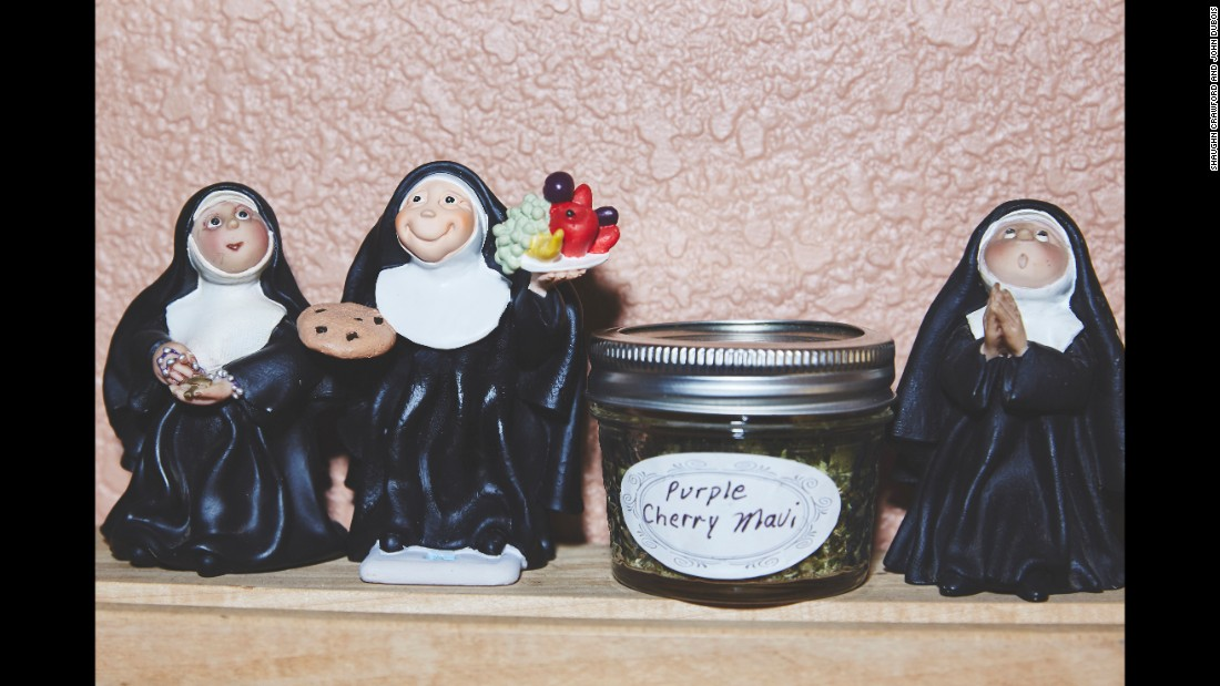 Photographer Shaughn Crawford said the art in the sisters' house was a fascinating mix of Catholic items and tchotchkes that hint at cannabis culture.