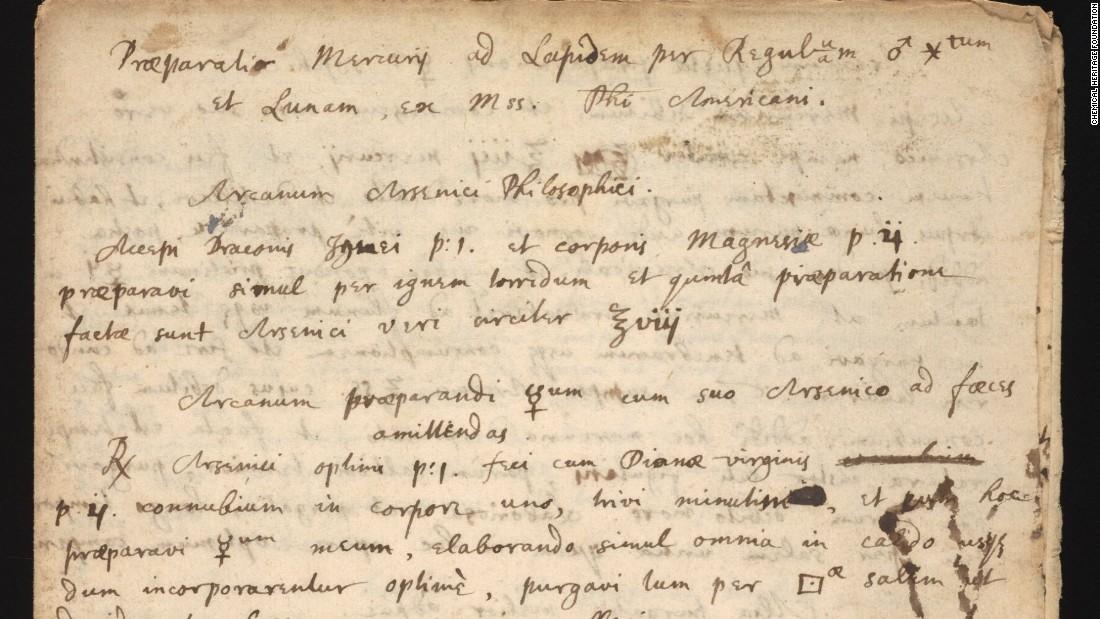 Isaac Newton's 'philosopher's stone' recipe discovered