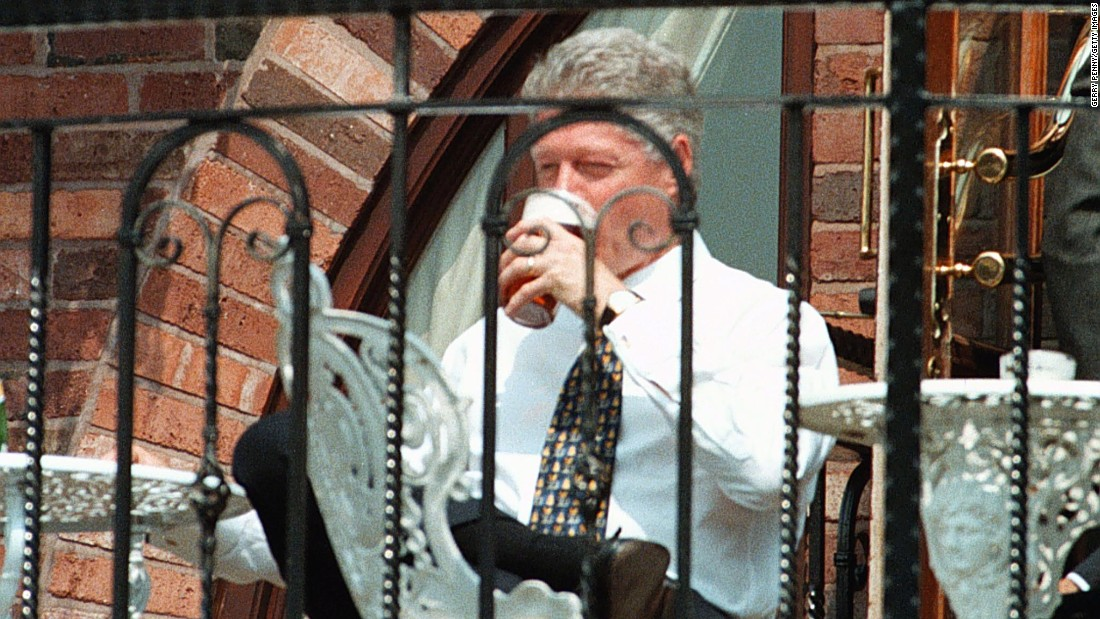 President Bill Clinton enjoys a pint of beer in Birmingham, England, in May 1998.