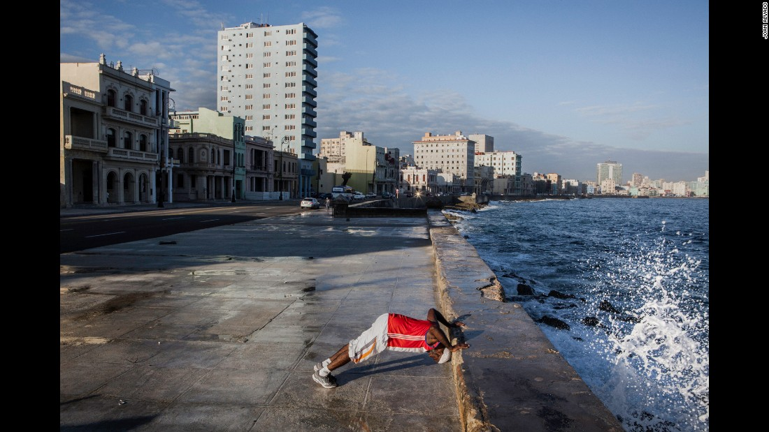 Ahmed Aguero exercises every morning in Havana's famous Malecon.