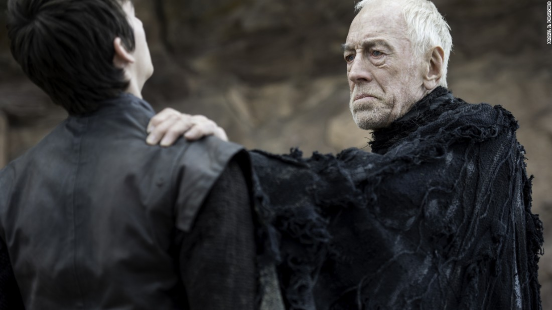 Bran Stark (Isaac Hempstead-Wright, left) appears here to be standing -- a marked improvement on his lower-body paralysis over the majority of the past five seasons. He's seen here with a new character, the Three-Eyed Raven (Max von Sydow).