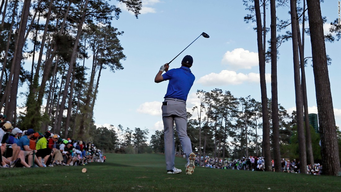 Spieth hits a tee shot Friday, April 8, during the second round.